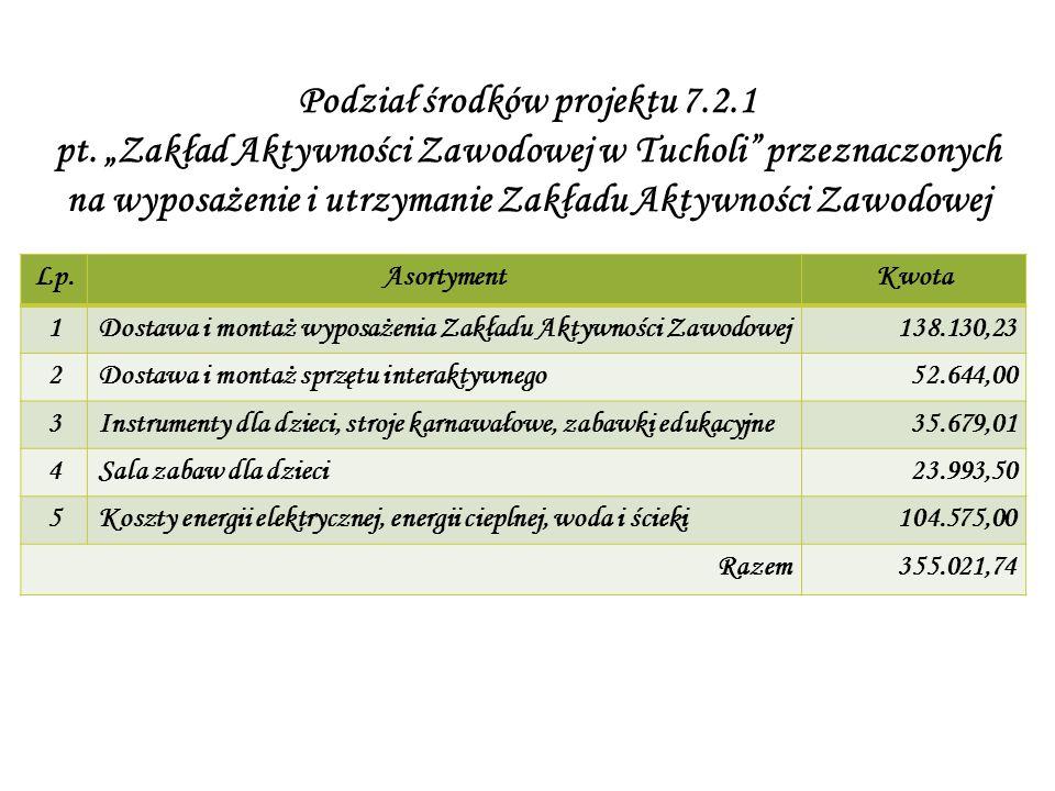 Podział środków projektu 7.2.1 pt.
