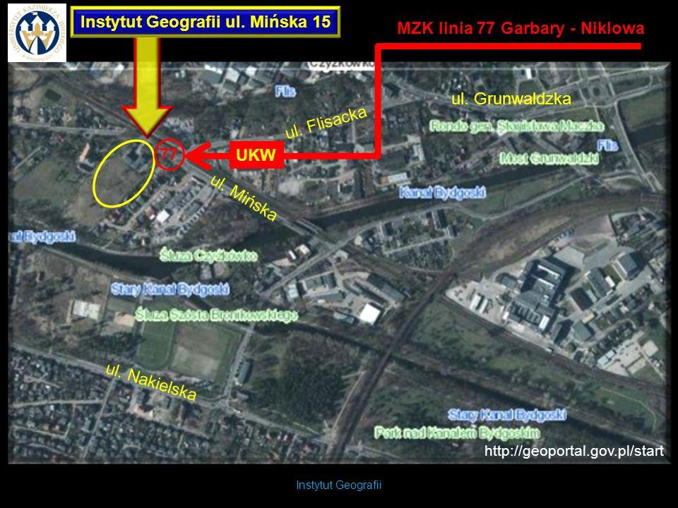 Instytut Geografii Instytut Geografii ul. Mińska 15 http://geoportal.gov.pl/start ul. Mińska ul. Flisacka 77 MZK linia 77 Garbary - Niklowa UKW ul. Gr