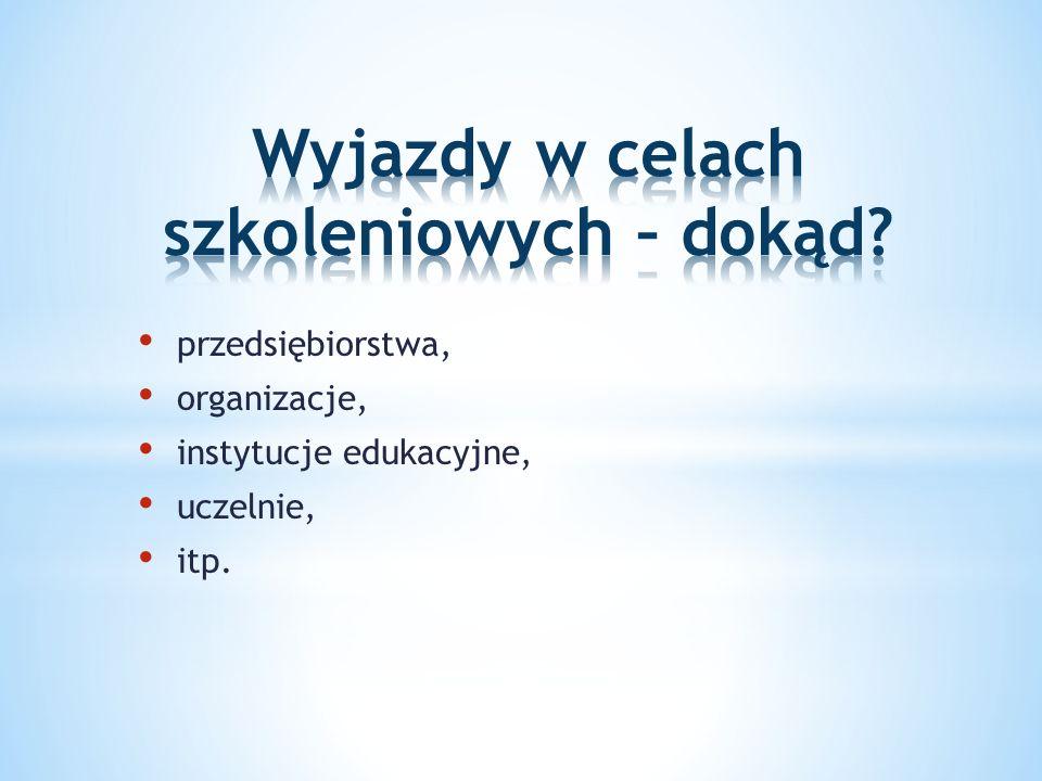 przedsiębiorstwa, organizacje, instytucje edukacyjne, uczelnie, itp.
