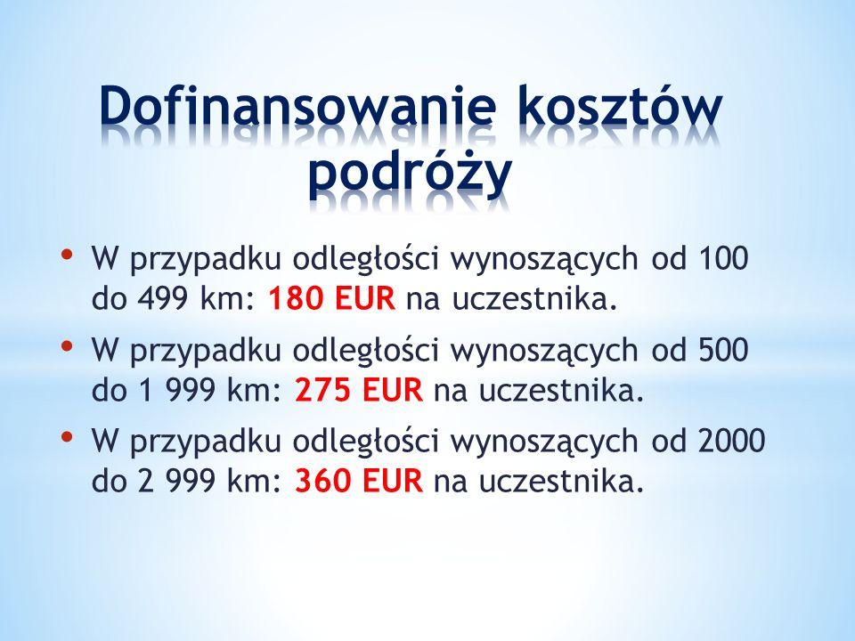 W przypadku odległości wynoszących od 100 do 499 km: 180 EUR na uczestnika.
