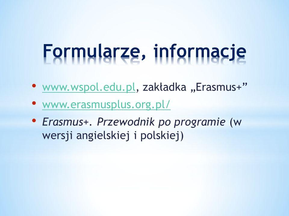 """www.wspol.edu.pl, zakładka """"Erasmus+ www.wspol.edu.pl www.erasmusplus.org.pl/ Erasmus+."""