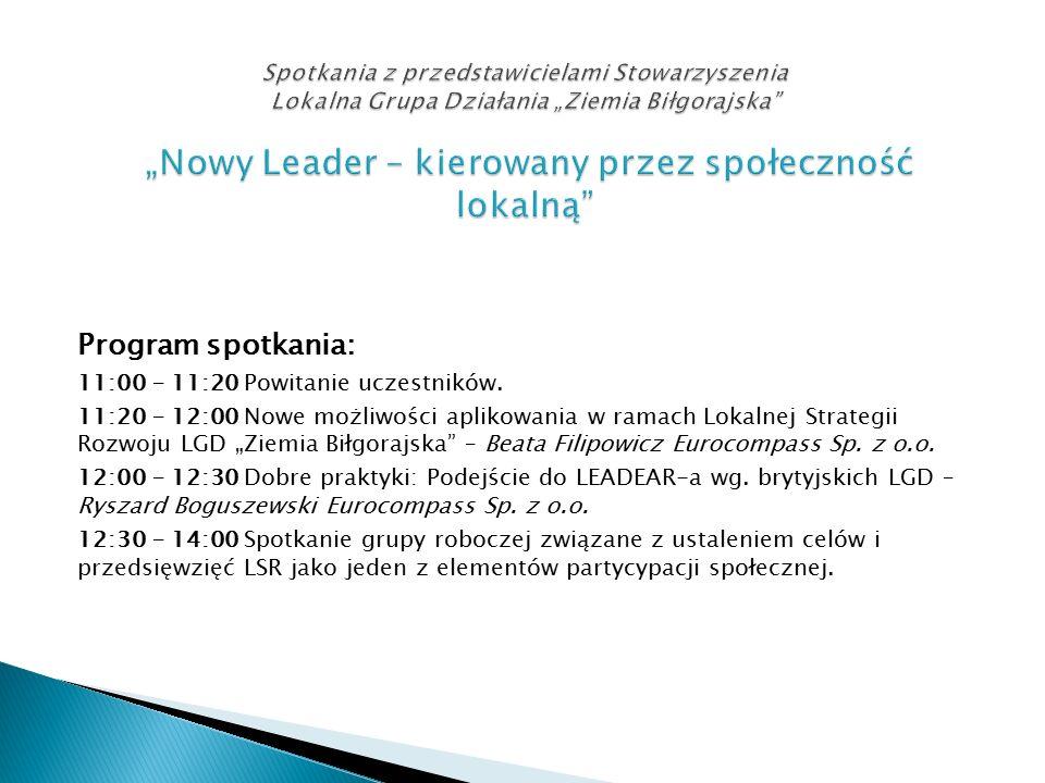 """Program spotkania: 11:00 – 11:20 Powitanie uczestników. 11:20 – 12:00 Nowe możliwości aplikowania w ramach Lokalnej Strategii Rozwoju LGD """"Ziemia Biłg"""