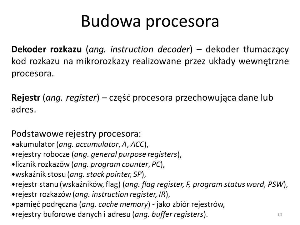 Budowa procesora 10 Rejestr (ang. register) – część procesora przechowująca dane lub adres. Dekoder rozkazu (ang. instruction decoder) – dekoder tłuma