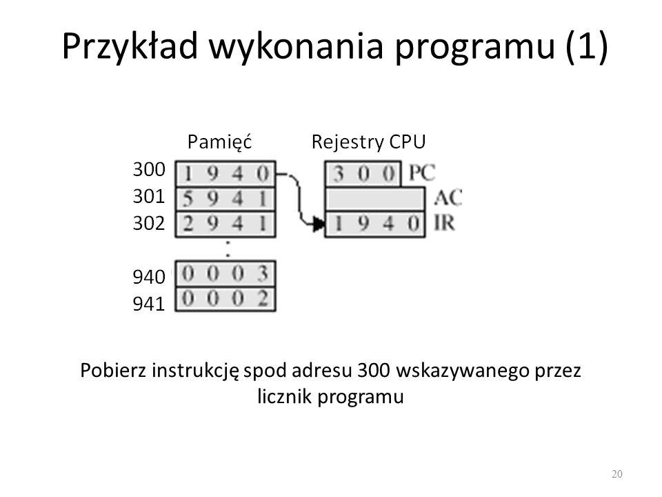 Przykład wykonania programu (1) 20 Pobierz instrukcję spod adresu 300 wskazywanego przez licznik programu