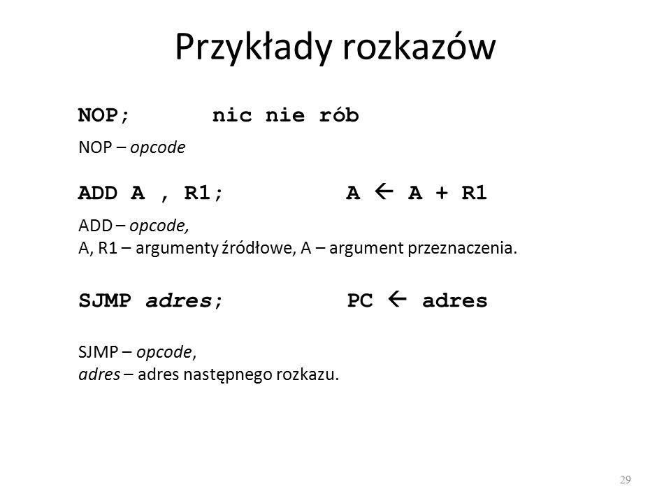 Przykłady rozkazów 29 NOP; nic nie rób ADD A, R1;A  A + R1 ADD – opcode, A, R1 – argumenty źródłowe, A – argument przeznaczenia. SJMP adres;PC  adre