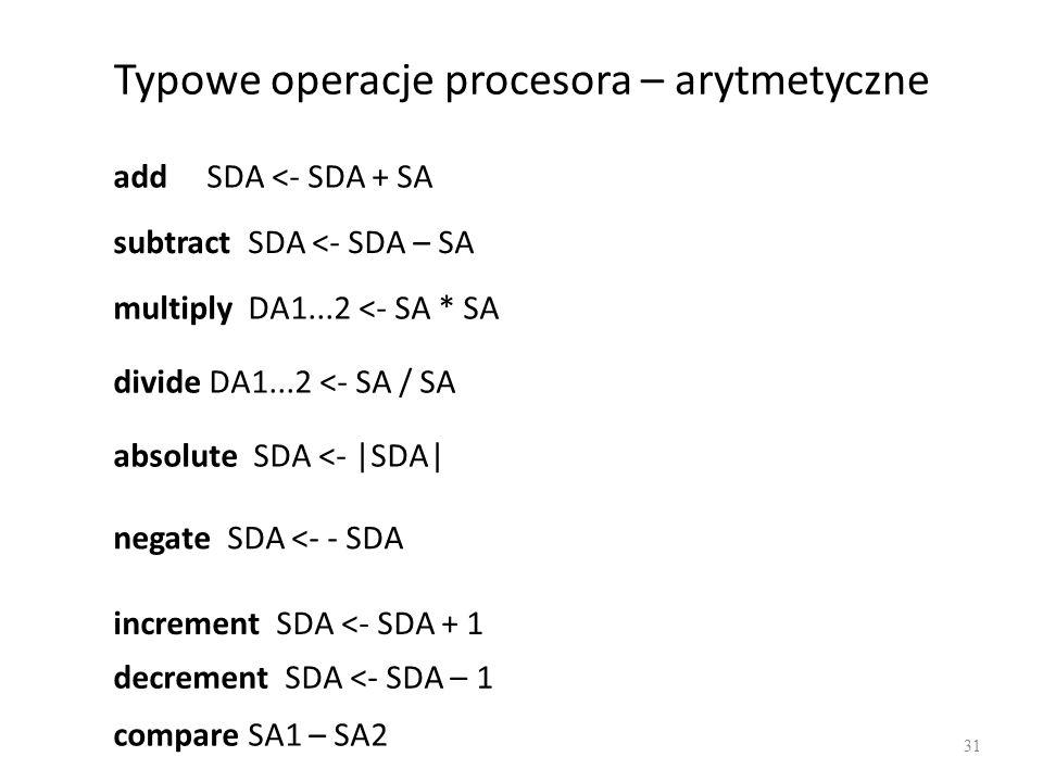 Typowe operacje procesora – arytmetyczne 31 add SDA <- SDA + SA subtract SDA <- SDA – SA multiply DA1...2 <- SA * SA divide DA1...2 <- SA / SA absolute SDA <- |SDA| negate SDA <- - SDA increment SDA <- SDA + 1 decrement SDA <- SDA – 1 compare SA1 – SA2