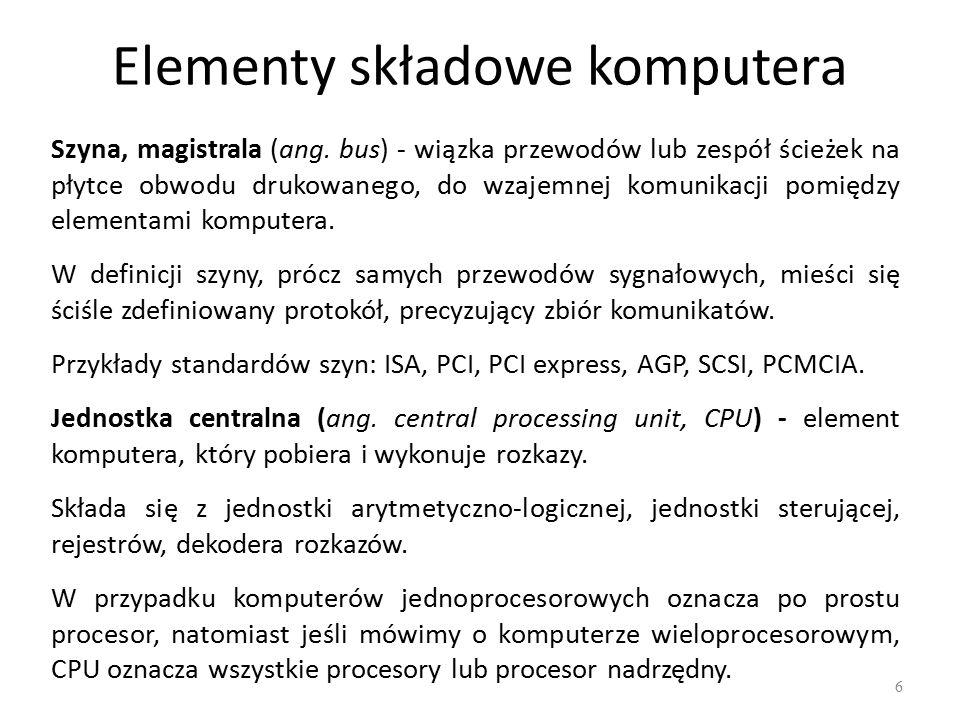 Elementy składowe komputera 6 Szyna, magistrala (ang.
