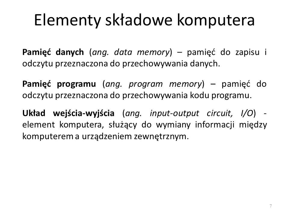 Elementy składowe komputera 7 Układ wejścia-wyjścia (ang. input-output circuit, I/O) - element komputera, służący do wymiany informacji między kompute