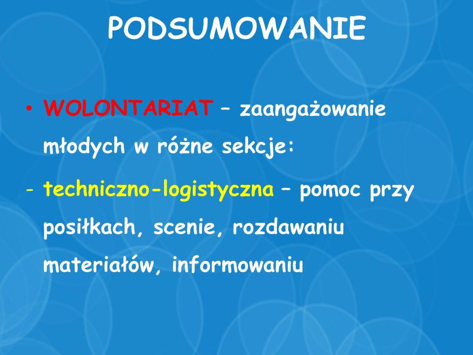 PODSUMOWANIE WOLONTARIAT – zaangażowanie młodych w różne sekcje: -techniczno-logistyczna – pomoc przy posiłkach, scenie, rozdawaniu materiałów, informowaniu
