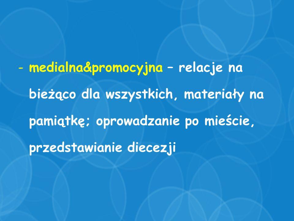 -medialna&promocyjna – relacje na bieżąco dla wszystkich, materiały na pamiątkę; oprowadzanie po mieście, przedstawianie diecezji