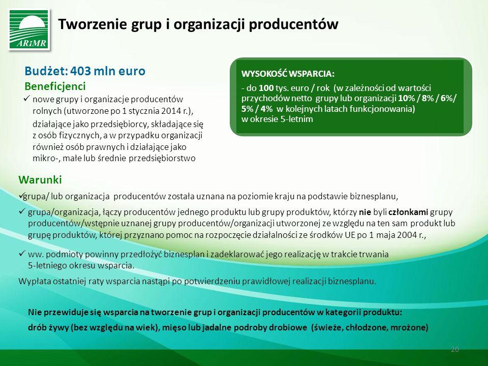 Tworzenie grup i organizacji producentów Budżet: 403 mln euro Beneficjenci nowe grupy i organizacje producentów rolnych (utworzone po 1 stycznia 2014 r.), działające jako przedsiębiorcy, składające się z osób fizycznych, a w przypadku organizacji również osób prawnych i działające jako mikro-, małe lub średnie przedsiębiorstwo Warunki grupa/ lub organizacja producentów została uznana na poziomie kraju na podstawie biznesplanu, grupa/organizacja, łączy producentów jednego produktu lub grupy produktów, którzy nie byli członkami grupy producentów/wstępnie uznanej grupy producentów/organizacji utworzonej ze względu na ten sam produkt lub grupę produktów, której przyznano pomoc na rozpoczęcie działalności ze środków UE po 1 maja 2004 r., ww.