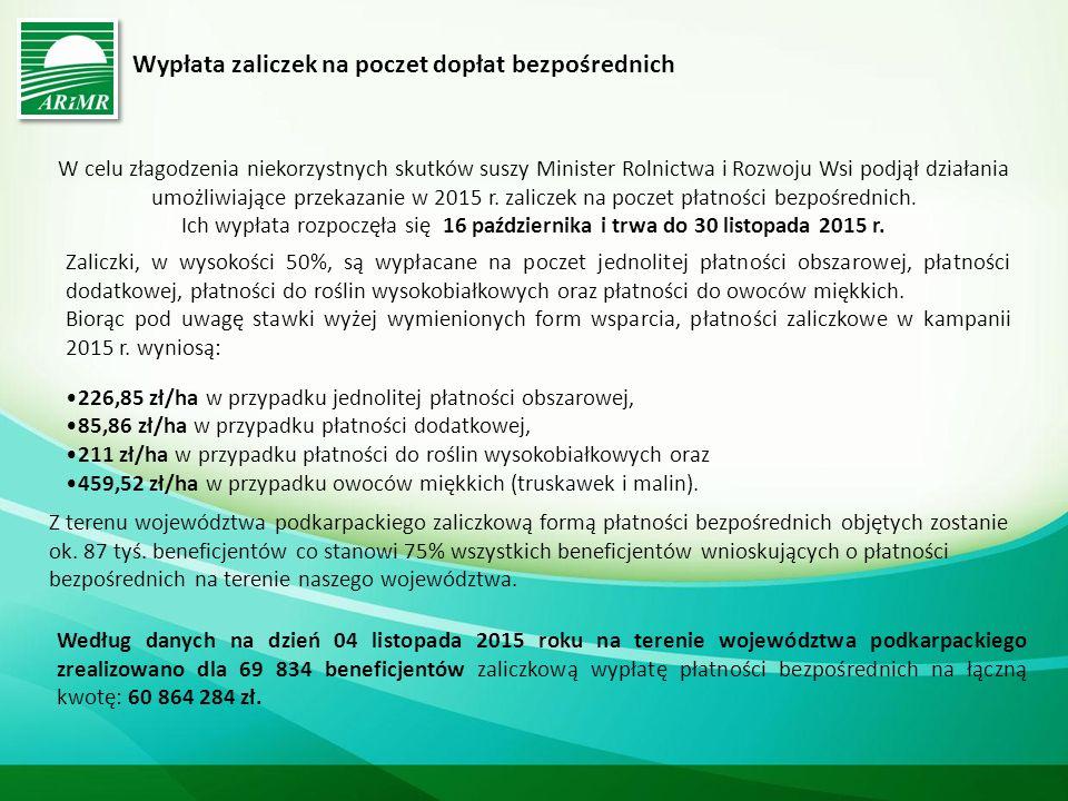 Wypłata zaliczek na poczet dopłat bezpośrednich W celu złagodzenia niekorzystnych skutków suszy Minister Rolnictwa i Rozwoju Wsi podjął działania umożliwiające przekazanie w 2015 r.