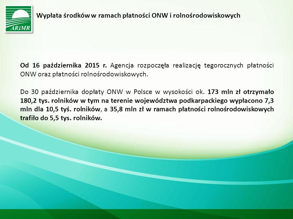 Wypłata środków w ramach płatności ONW i rolnośrodowiskowych Od 16 października 2015 r.