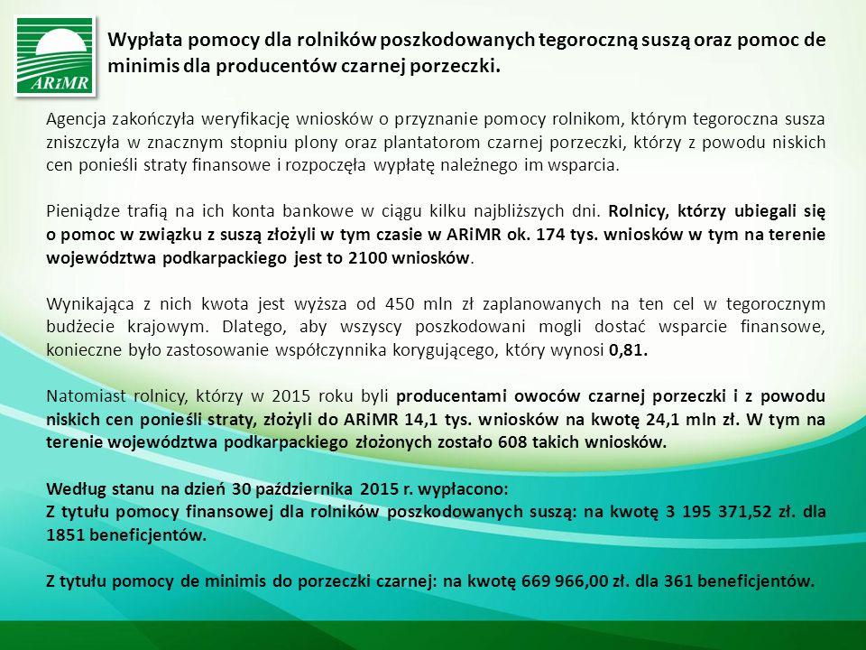 Premie na rozpoczęcie działalności pozarolniczej Budżet: 413,9 mln euro Pomoc przyznaje się w związku z rozpoczynaniem prowadzenia działalności pozarolniczej (ma charakter pomocy de minimis) Beneficjenci osoby fizyczne Warunki Wnioskodawca jest beneficjentem działania Płatności dla rolników przekazujących małe gospodarstwa lub spełnia warunki: jest ubezpieczony w pełnym zakresie jako rolnik, małżonek rolnika lub domownik, wielkość ekonomiczna gospodarstwa nie większa niż 15 tys.