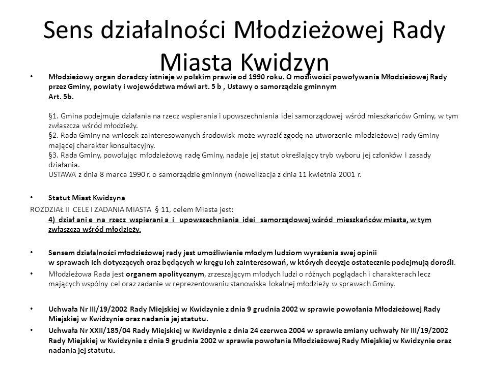 Sens działalności Młodzieżowej Rady Miasta Kwidzyn Młodzieżowy organ doradczy istnieje w polskim prawie od 1990 roku.