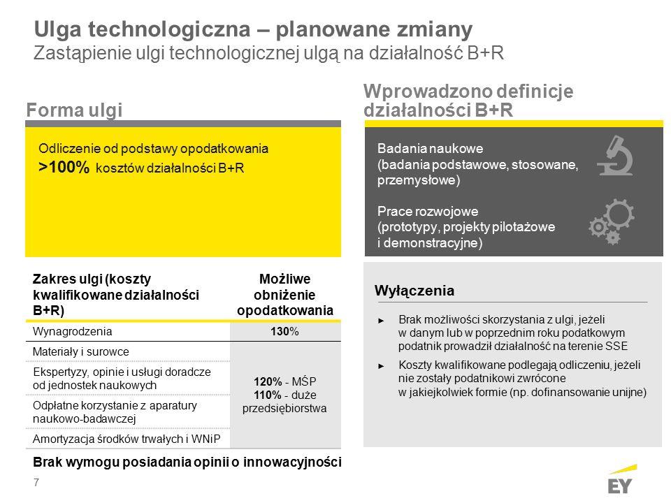 7 Ulga technologiczna – planowane zmiany Zastąpienie ulgi technologicznej ulgą na działalność B+R Odliczenie od podstawy opodatkowania >100% kosztów działalności B+R Badania naukowe (badania podstawowe, stosowane, przemysłowe) Prace rozwojowe (prototypy, projekty pilotażowe i demonstracyjne) Forma ulgi Wprowadzono definicje działalności B+R Zakres ulgi (koszty kwalifikowane działalności B+R) Możliwe obniżenie opodatkowania Wynagrodzenia 130% Materiały i surowce 120% - MŚP 110% - duże przedsiębiorstwa Ekspertyzy, opinie i usługi doradcze od jednostek naukowych Odpłatne korzystanie z aparatury naukowo-badawczej Amortyzacja środków trwałych i WNiP Brak wymogu posiadania opinii o innowacyjności Wyłączenia ► Brak możliwości skorzystania z ulgi, jeżeli w danym lub w poprzednim roku podatkowym podatnik prowadził działalność na terenie SSE ► Koszty kwalifikowane podlegają odliczeniu, jeżeli nie zostały podatnikowi zwrócone w jakiejkolwiek formie (np.