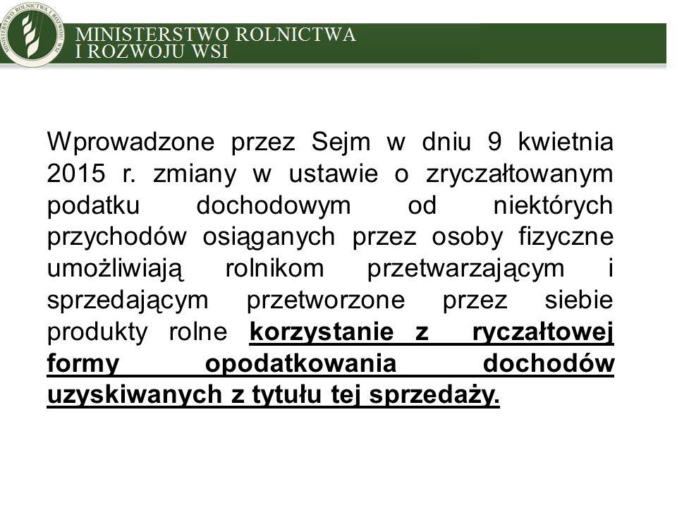 MINISTRY OF AGRICULTURE AND RURAL DEVELOPMENT Wprowadzone przez Sejm w dniu 9 kwietnia 2015 r.