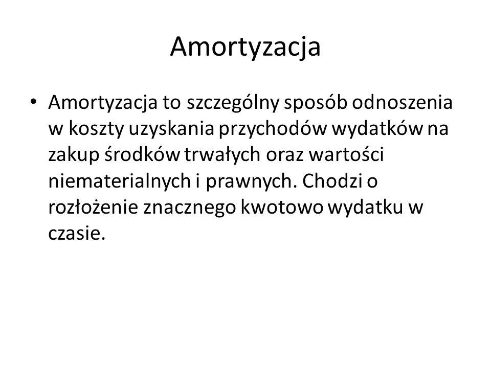 Amortyzacja Amortyzacja to szczególny sposób odnoszenia w koszty uzyskania przychodów wydatków na zakup środków trwałych oraz wartości niematerialnych
