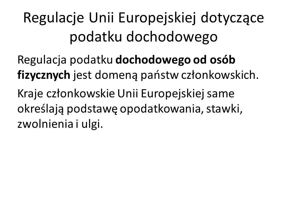 Regulacje Unii Europejskiej dotyczące podatku dochodowego Regulacja podatku dochodowego od osób fizycznych jest domeną państw członkowskich. Kraje czł