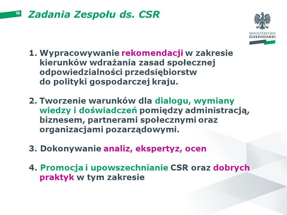 10 Zadania Zespołu ds. CSR 1.Wypracowywanie rekomendacji w zakresie kierunków wdrażania zasad społecznej odpowiedzialności przedsiębiorstw do polityki