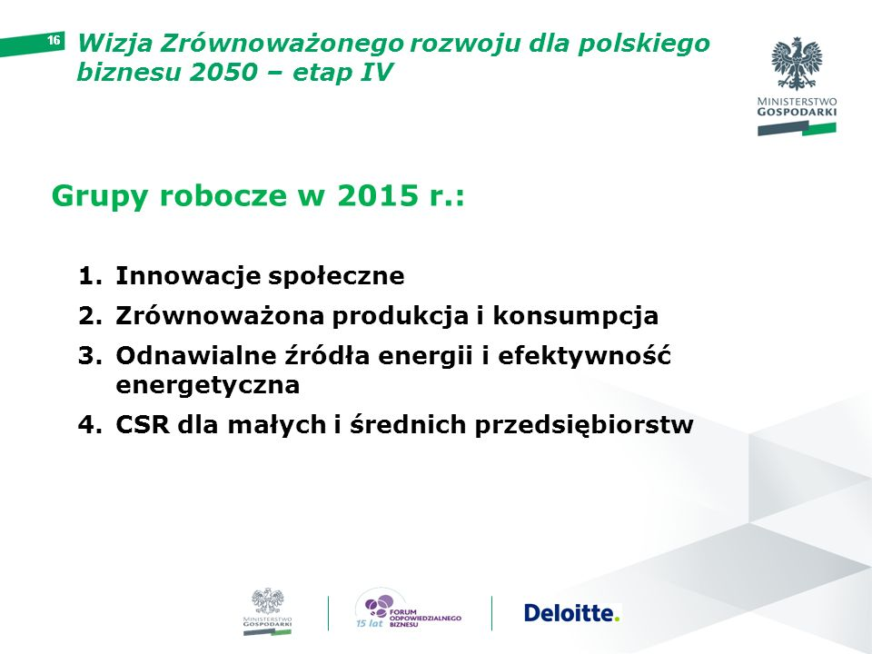 16 Grupy robocze w 2015 r.: 1.Innowacje społeczne 2.Zrównoważona produkcja i konsumpcja 3.Odnawialne źródła energii i efektywność energetyczna 4.CSR d
