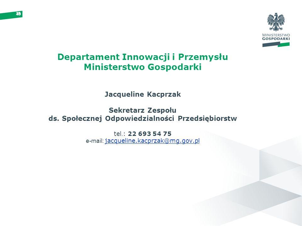 19 28 Departament Innowacji i Przemysłu Ministerstwo Gospodarki Jacqueline Kacprzak Sekretarz Zespołu ds. Społecznej Odpowiedzialności Przedsiębiorstw