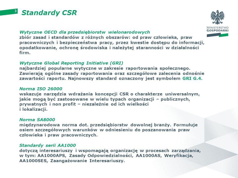 33 Standardy CSR Wytyczne OECD dla przedsiębiorstw wielonarodowych zbiór zasad i standardów z różnych obszarów: od praw człowieka, praw pracowniczych