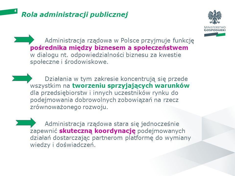 44444 Rola administracji publicznej Administracja rządowa w Polsce przyjmuje funkcję pośrednika między biznesem a społeczeństwem w dialogu nt. odpowie