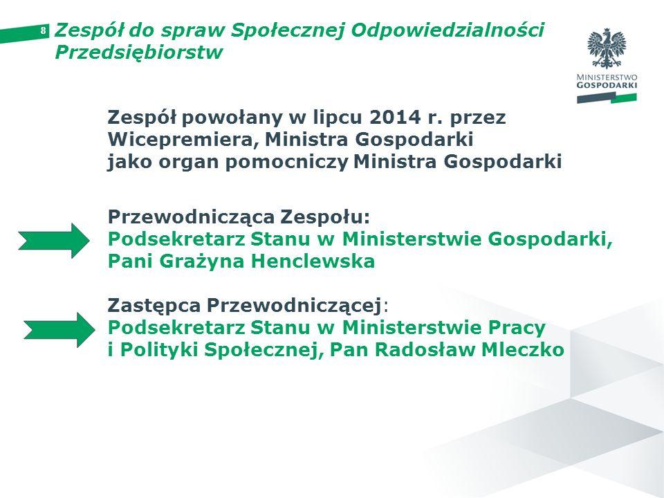 88 Zespół powołany w lipcu 2014 r. przez Wicepremiera, Ministra Gospodarki jako organ pomocniczy Ministra Gospodarki Przewodnicząca Zespołu: Podsekret