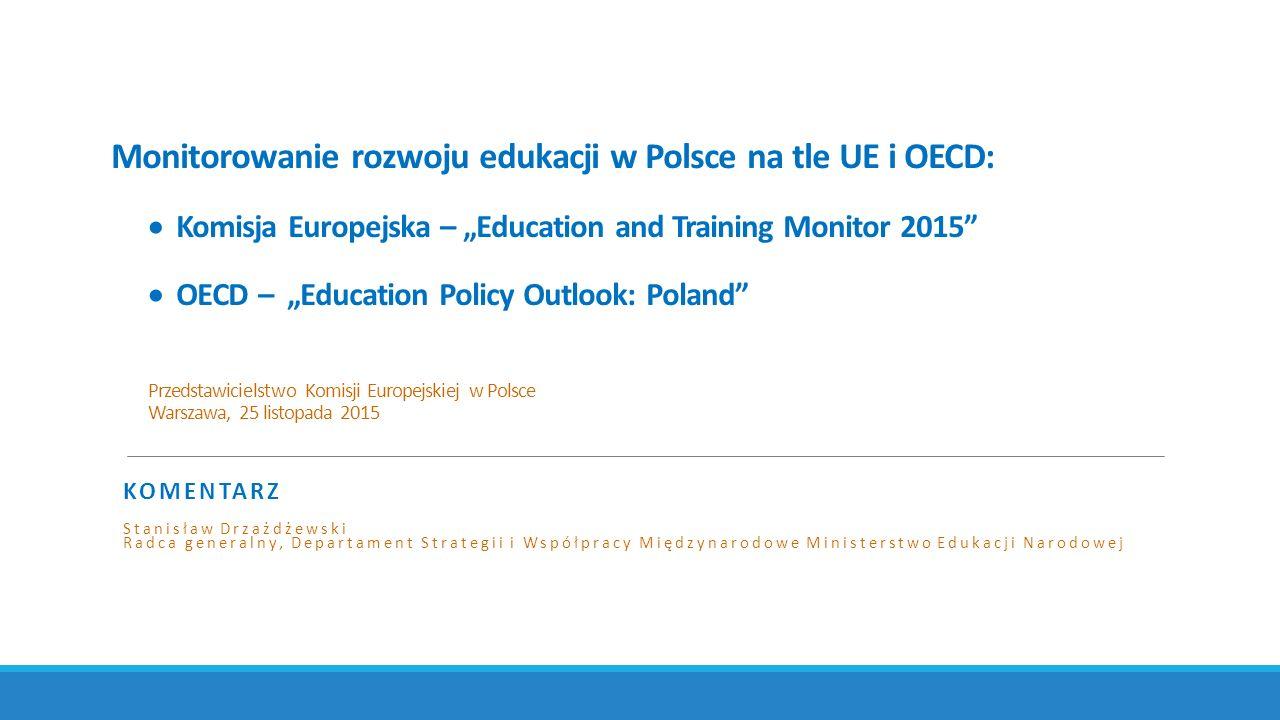 "Monitorowanie rozwoju edukacji w Polsce na tle UE i OECD:  Komisja Europejska – ""Education and Training Monitor 2015""  OECD – ""Education Policy Outl"