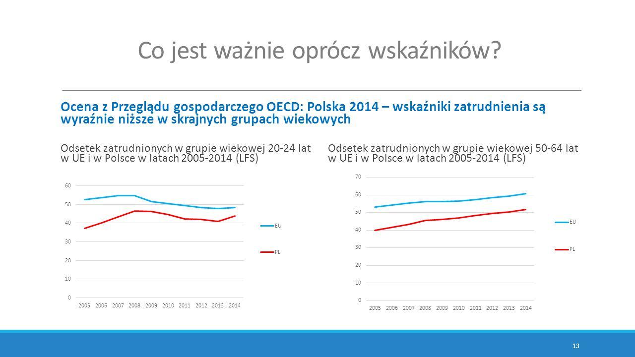 Co jest ważnie oprócz wskaźników? Ocena z Przeglądu gospodarczego OECD: Polska 2014 – wskaźniki zatrudnienia są wyraźnie niższe w skrajnych grupach wi