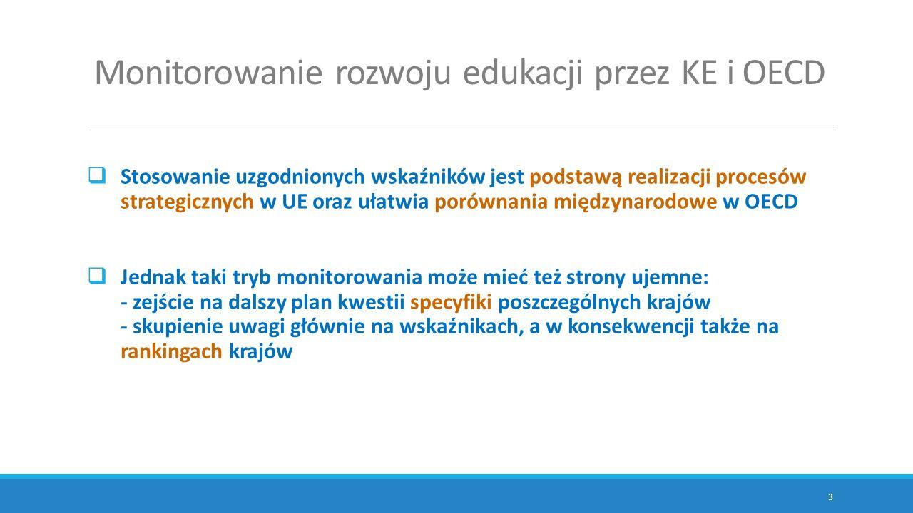 Monitorowanie rozwoju edukacji przez KE i OECD  Stosowanie uzgodnionych wskaźników jest podstawą realizacji procesów strategicznych w UE oraz ułatwia