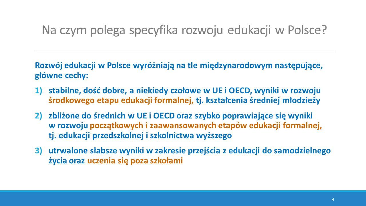Na czym polega specyfika rozwoju edukacji w Polsce? Rozwój edukacji w Polsce wyróżniają na tle międzynarodowym następujące, główne cechy: 1)stabilne,