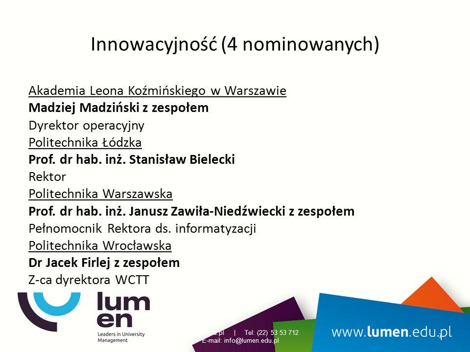 Innowacyjność (4 nominowanych) Akademia Leona Koźmińskiego w Warszawie Madziej Madziński z zespołem Dyrektor operacyjny Politechnika Łódzka Prof. dr h