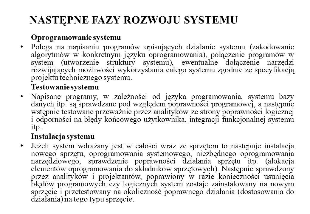 NASTĘPNE FAZY ROZWOJU SYSTEMU Oprogramowanie systemu Polega na napisaniu programów opisujących działanie systemu (zakodowanie algorytmów w konkretnym