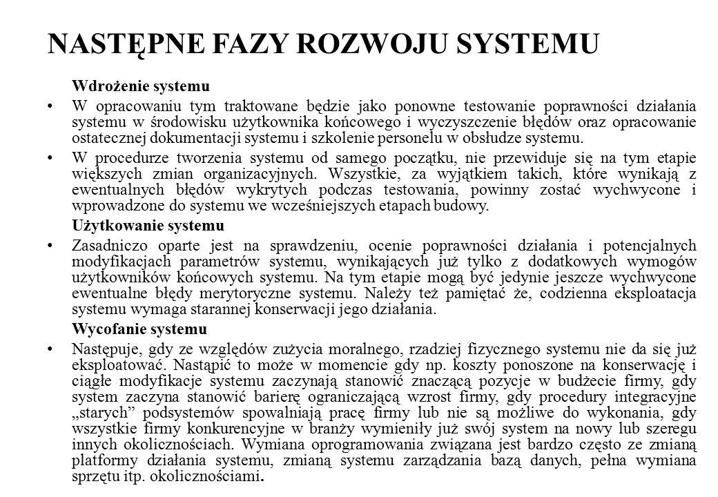 NASTĘPNE FAZY ROZWOJU SYSTEMU Wdrożenie systemu W opracowaniu tym traktowane będzie jako ponowne testowanie poprawności działania systemu w środowisku