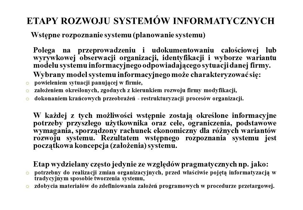ETAPY ROZWOJU SYSTEMÓW INFORMATYCZNYCH Polega na przeprowadzeniu i udokumentowaniu całościowej lub wyrywkowej obserwacji organizacji, identyfikacji i