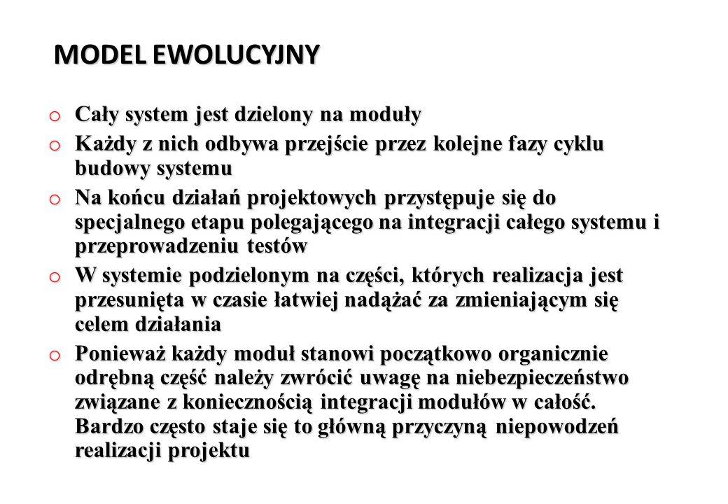 MODEL EWOLUCYJNY o Cały system jest dzielony na moduły o Każdy z nich odbywa przejście przez kolejne fazy cyklu budowy systemu o Na końcu działań proj
