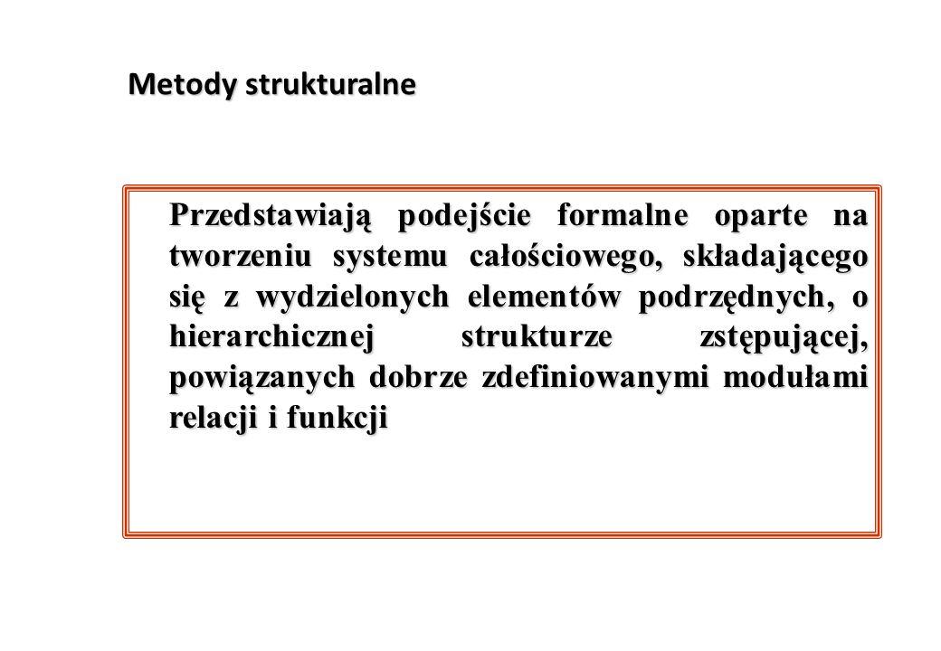 Metody strukturalne Przedstawiają podejście formalne oparte na tworzeniu systemu całościowego, składającego się z wydzielonych elementów podrzędnych,