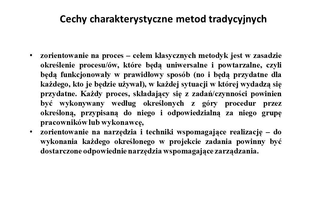 Cechy charakterystyczne metod tradycyjnych zorientowanie na proces – celem klasycznych metodyk jest w zasadzie określenie procesu/ów, które będą uniwe