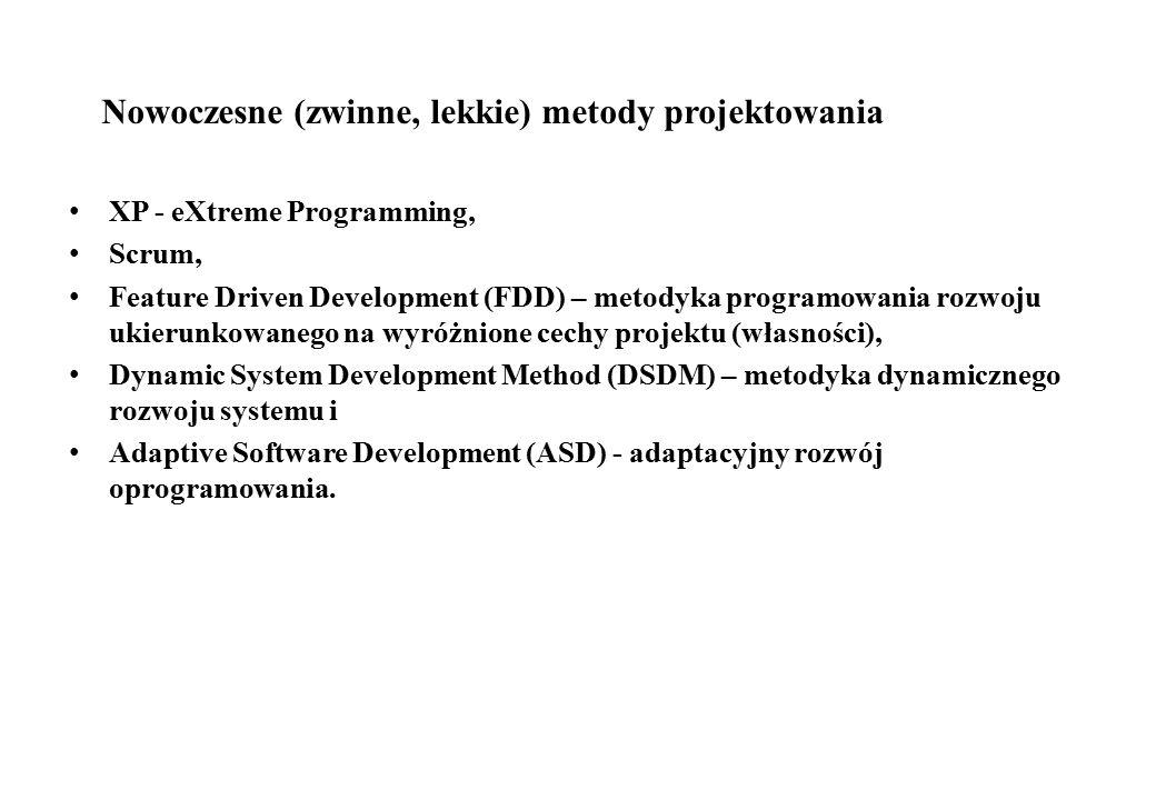 Nowoczesne (zwinne, lekkie) metody projektowania XP - eXtreme Programming, Scrum, Feature Driven Development (FDD) – metodyka programowania rozwoju uk