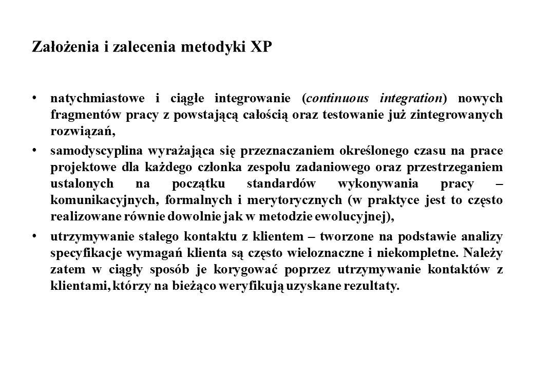 Założenia i zalecenia metodyki XP natychmiastowe i ciągłe integrowanie (continuous integration) nowych fragmentów pracy z powstającą całością oraz tes