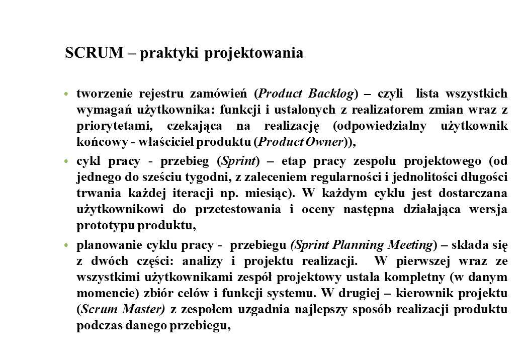 SCRUM – praktyki projektowania tworzenie rejestru zamówień (Product Backlog) – czyli lista wszystkich wymagań użytkownika: funkcji i ustalonych z real