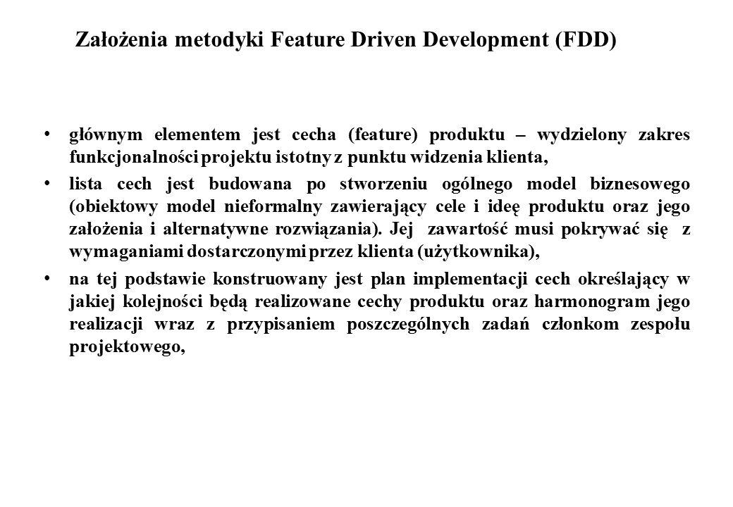 Założenia metodyki Feature Driven Development (FDD) głównym elementem jest cecha (feature) produktu – wydzielony zakres funkcjonalności projektu istot