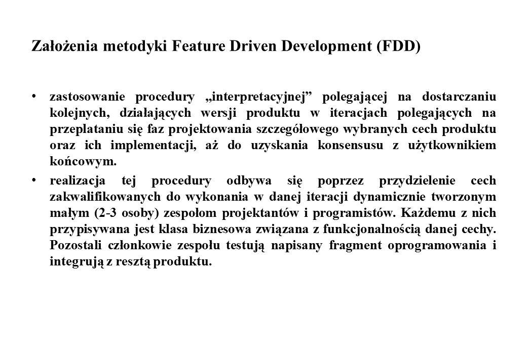 """Założenia metodyki Feature Driven Development (FDD) zastosowanie procedury """"interpretacyjnej"""" polegającej na dostarczaniu kolejnych, działających wers"""