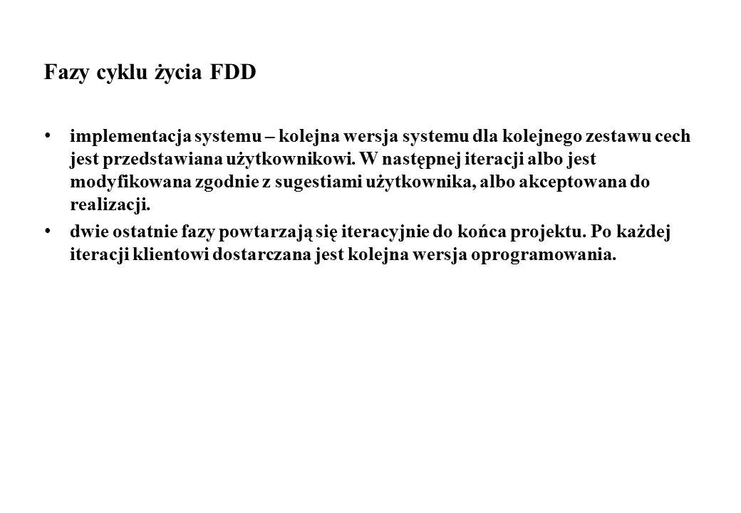 Fazy cyklu życia FDD implementacja systemu – kolejna wersja systemu dla kolejnego zestawu cech jest przedstawiana użytkownikowi. W następnej iteracji
