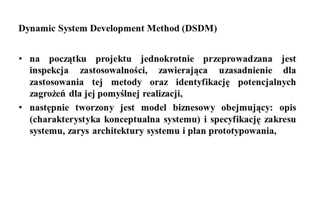 Dynamic System Development Method (DSDM) na początku projektu jednokrotnie przeprowadzana jest inspekcja zastosowalności, zawierająca uzasadnienie dla
