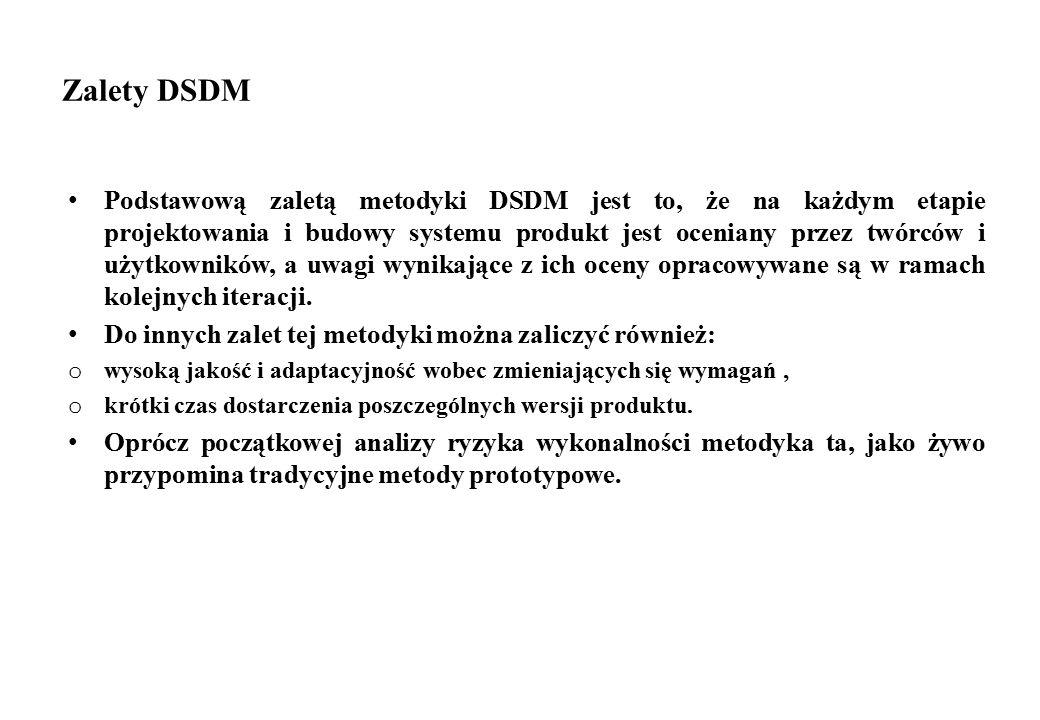 Zalety DSDM Podstawową zaletą metodyki DSDM jest to, że na każdym etapie projektowania i budowy systemu produkt jest oceniany przez twórców i użytkown