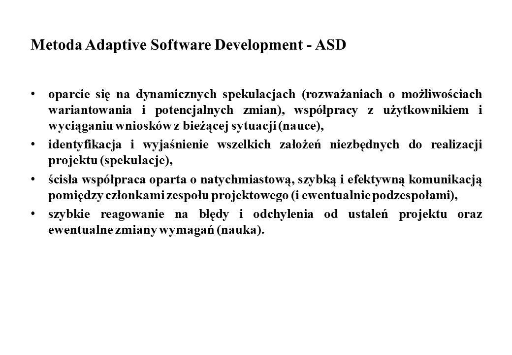 Metoda Adaptive Software Development - ASD oparcie się na dynamicznych spekulacjach (rozważaniach o możliwościach wariantowania i potencjalnych zmian)