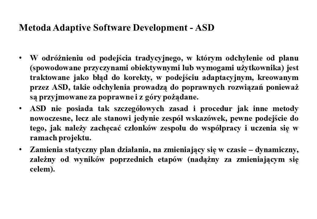 Metoda Adaptive Software Development - ASD W odróżnieniu od podejścia tradycyjnego, w którym odchylenie od planu (spowodowane przyczynami obiektywnymi
